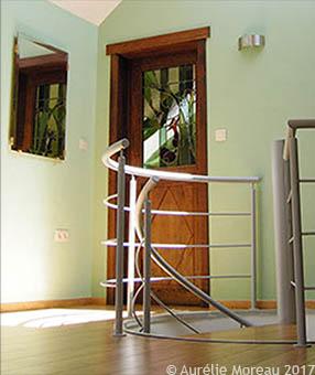 L'Ecureuil, vitrail de porte intérieure