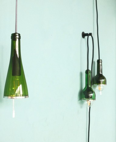 Lampes baladeuses bouteille, verre recyclé.