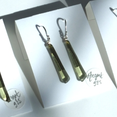 Boucles d'oreille pendantes Argent925 - couleur thé vert