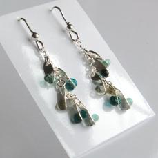 Boucles d'oreille pendantes gouttelettes Argent925