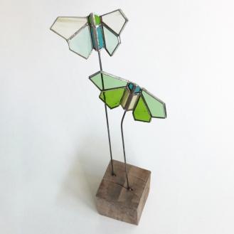 Papillons double vert clair vue2