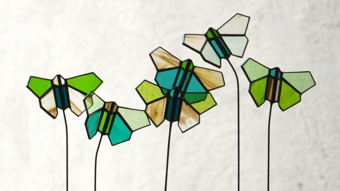 papillons verts x6